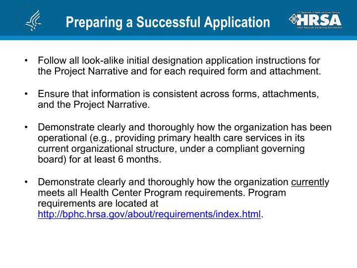 Preparing a Successful Application