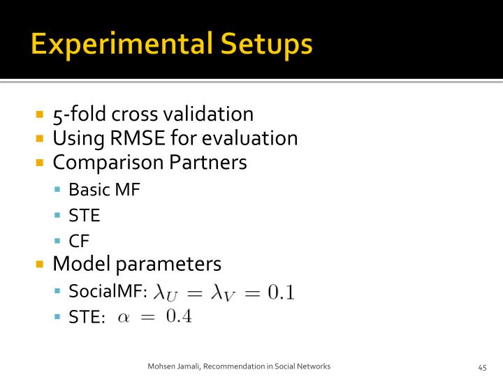 Experimental Setups