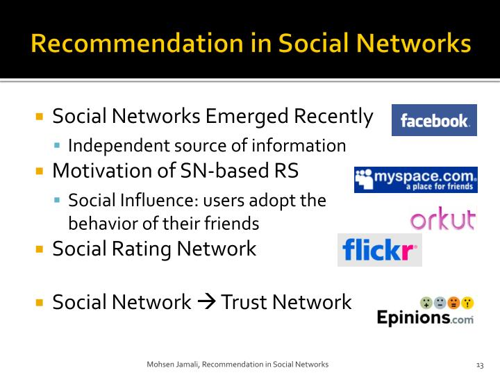 Recommendation in Social Networks