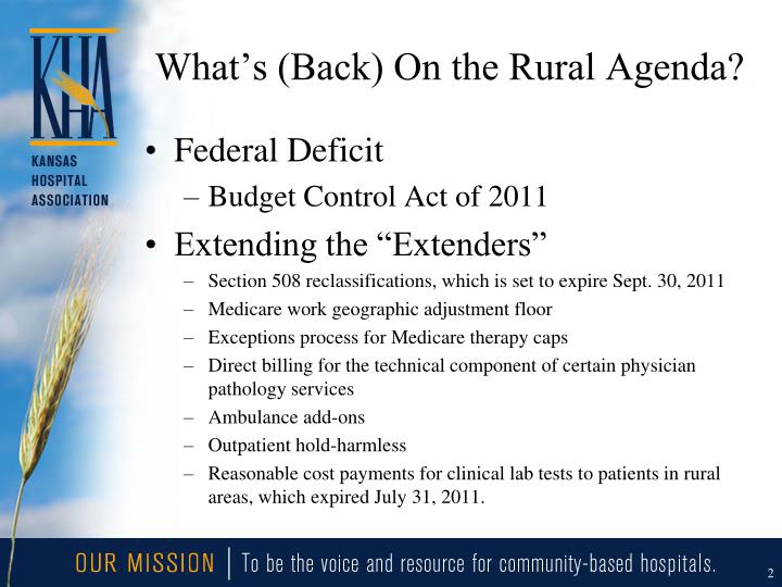 What s back on the rural agenda