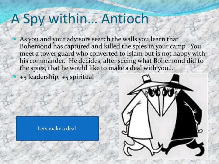 A Spy within… Antioch