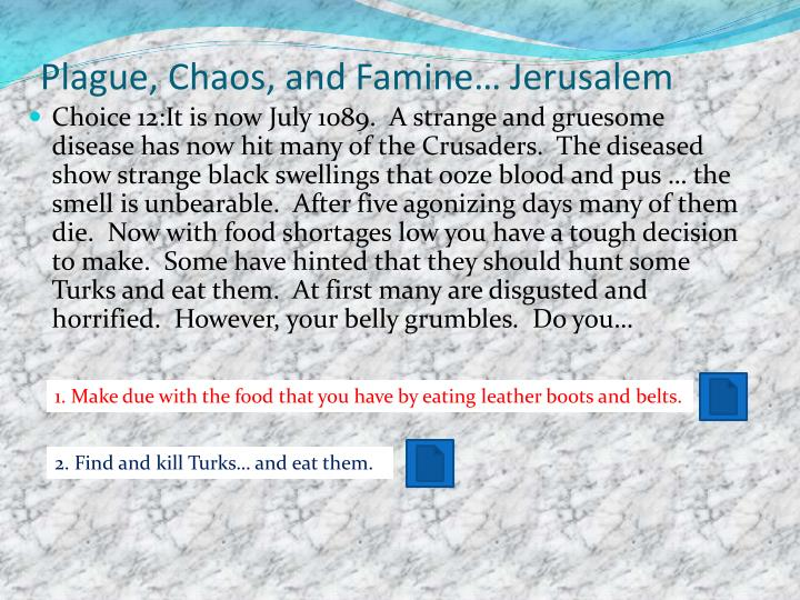 Plague, Chaos, and Famine… Jerusalem