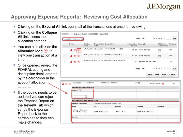 Approving Expense Reports:  Reviewing Cost Allocation