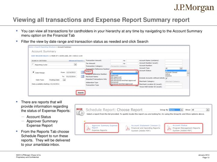 Viewing all transactions and Expense Report Summary report