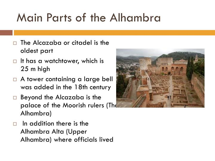 Main Parts of the Alhambra