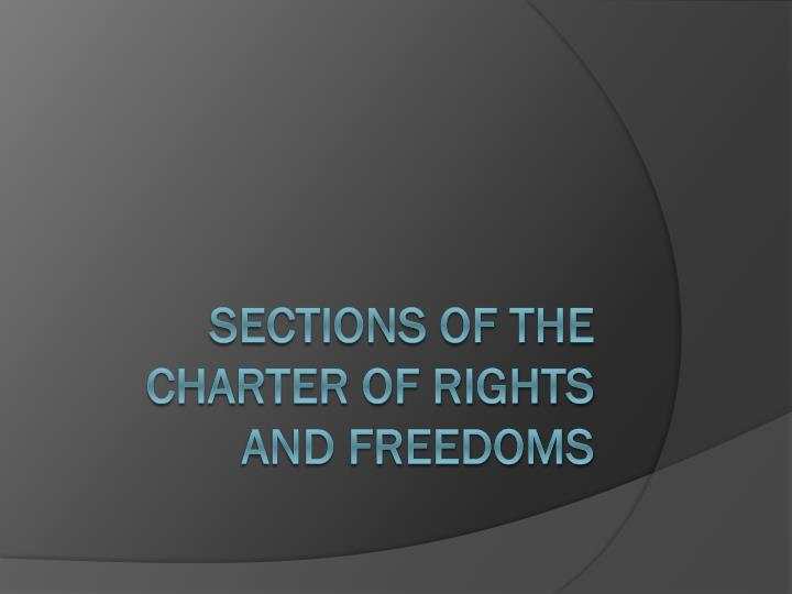 sections of the charter of rights and freedoms n.
