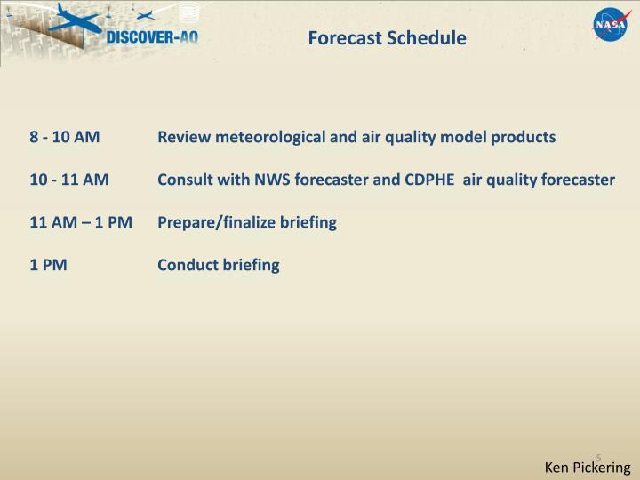 Forecast Schedule