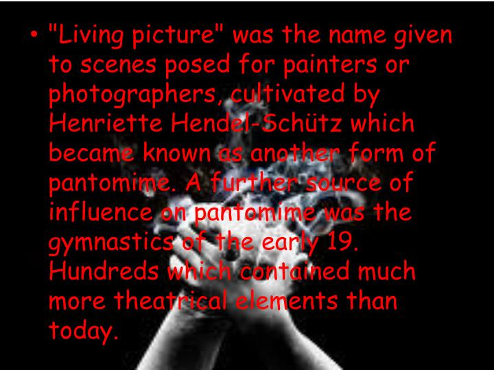 """""""Living picture"""" was the name given to scenes posed for painters or photographers, cultivated by"""