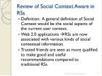 review of social context aware in rss