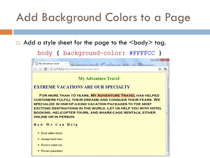 Add Background Colors to a Page