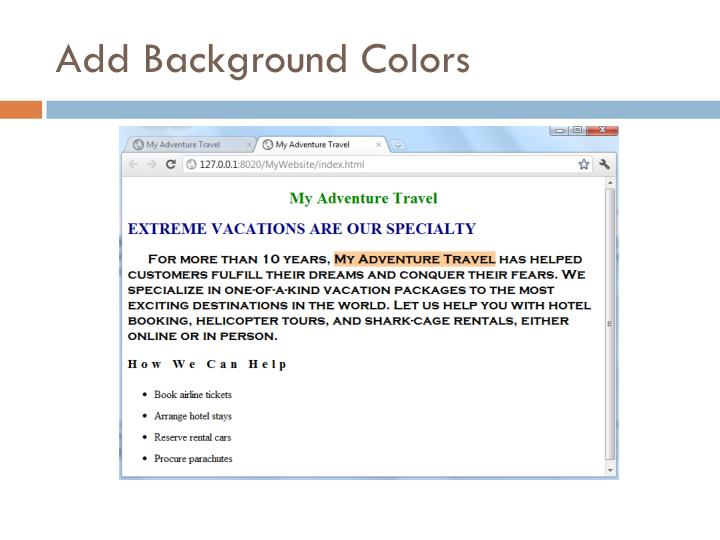 Add Background Colors