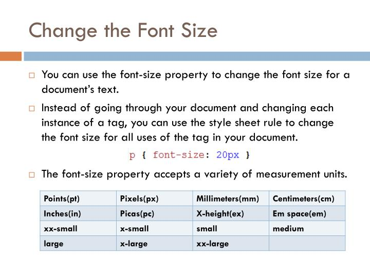 Change the font size