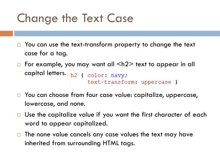 Change the Text Case