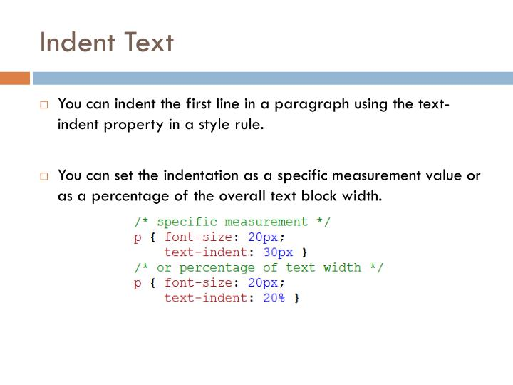 Indent text