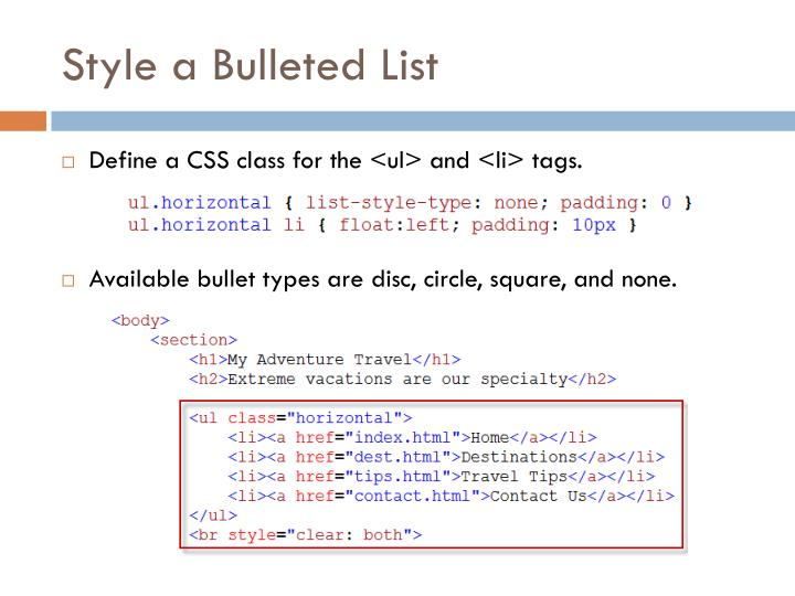 Style a Bulleted List