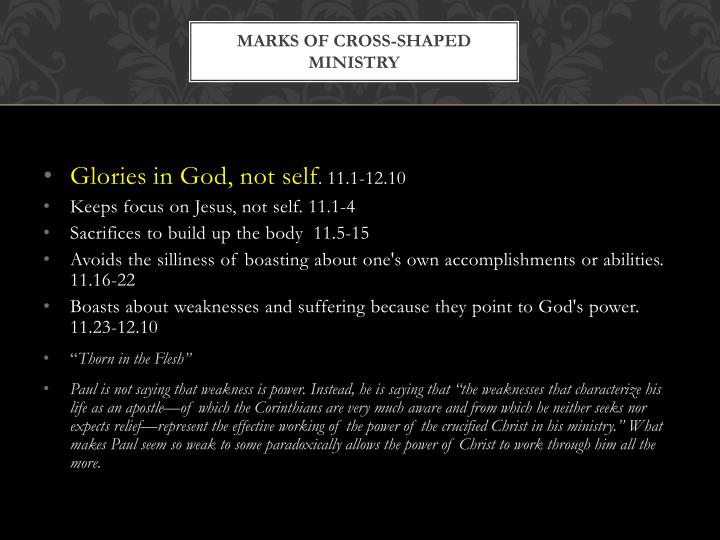 Marks of cross-shaped ministry