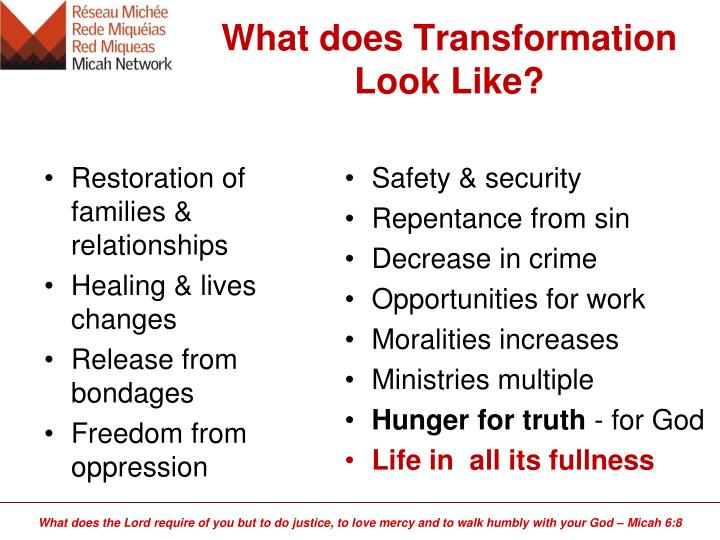 What does Transformation Look Like?
