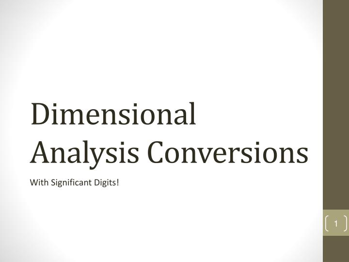 d imensional analysis conversions n.