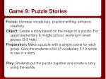game 9 puzzle stories