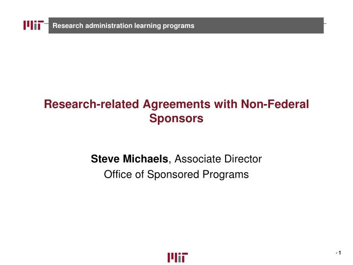 research related agreements with non federal sponsors n.