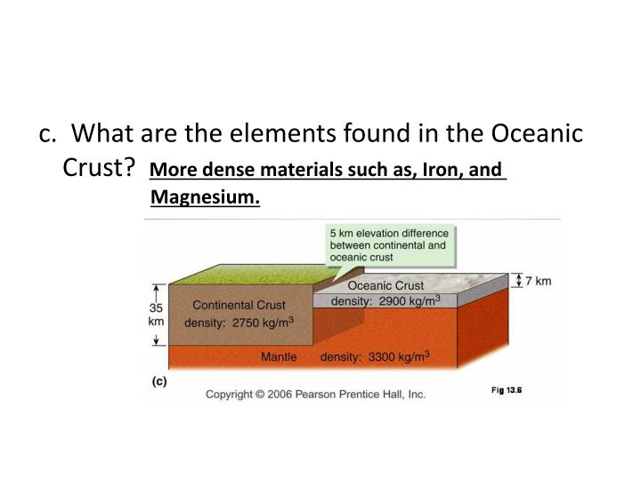 c.  What are the elements found in the Oceanic          Crust?