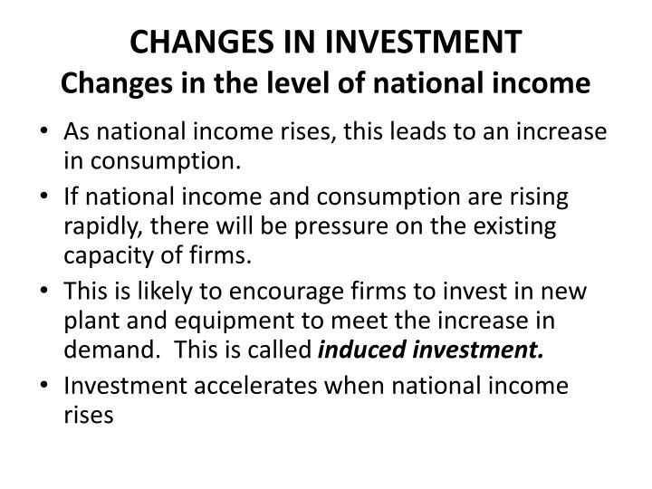 CHANGES IN INVESTMENT