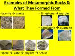 examples of metamorphic rocks what they formed from