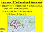 locations of earthquakes volcanoes