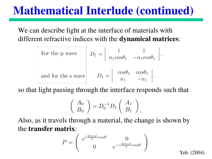 Mathematical Interlude (continued)