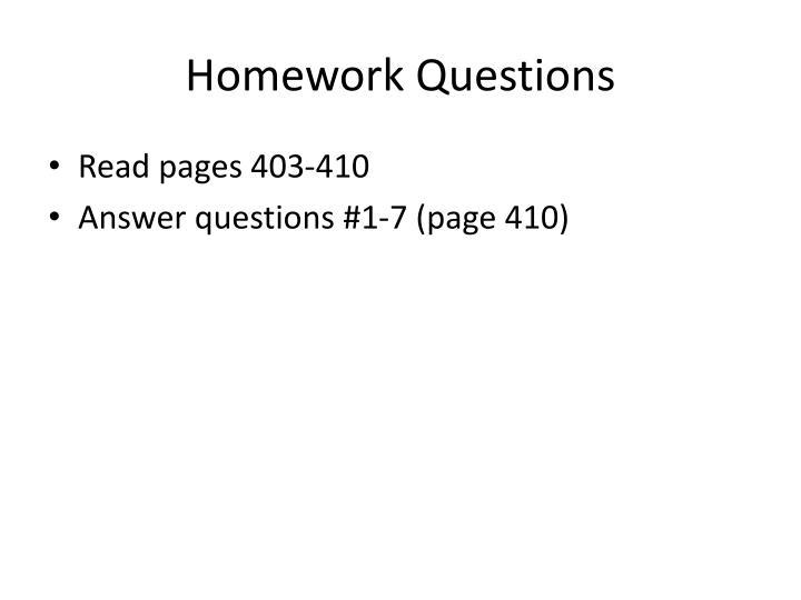 Homework Questions