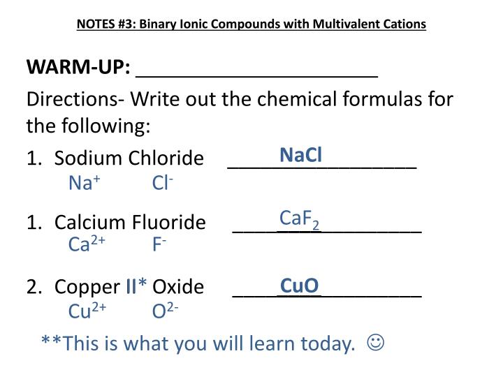 PPT - NOTES #3: Binary Ionic Compounds with Multivalent ...
