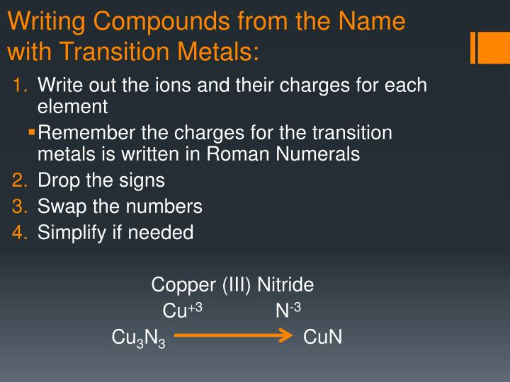 Writing Compounds from the Name with Transition Metals: