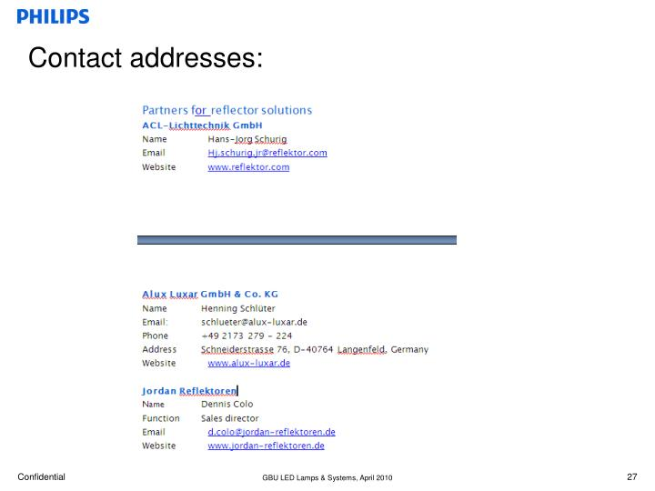 Contact addresses: