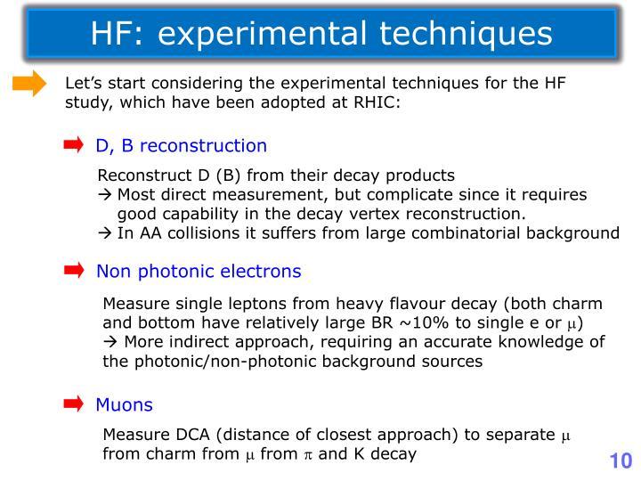 HF: experimental techniques