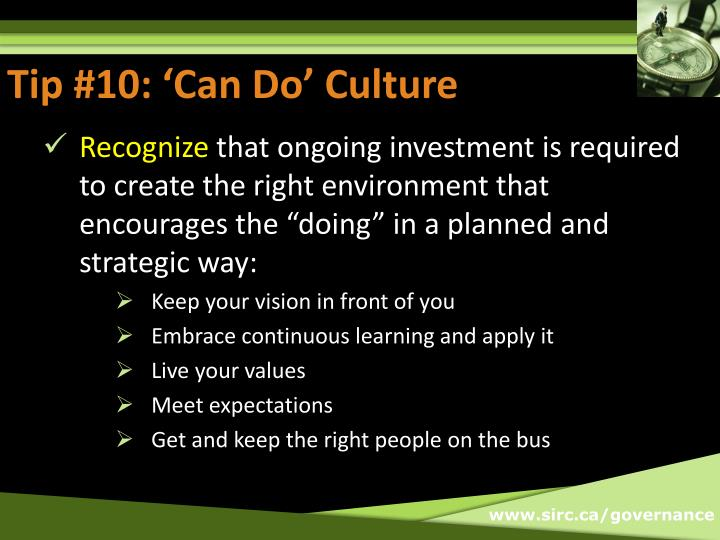 Tip #10: 'Can Do' Culture