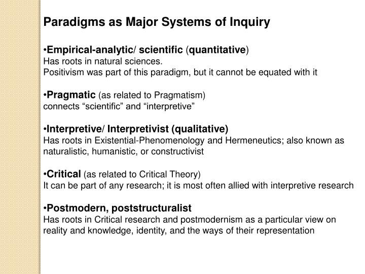 Paradigms as Major Systems of Inquiry