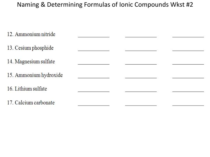 Ppt Naming Ionic Compounds Wkst 1 Powerpoint Presentation Id