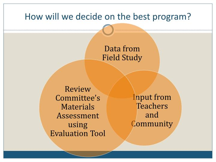 How will we decide on the best program?