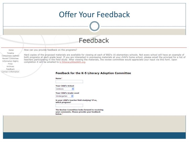 Offer Your Feedback