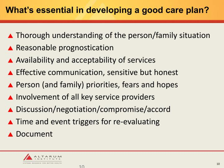 What's essential in developing a good care plan?