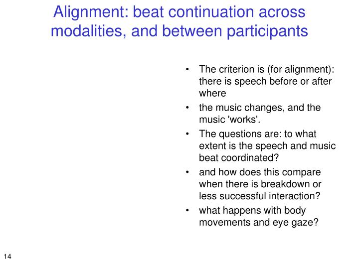 Alignment: beat continuation across modalities, and between participants