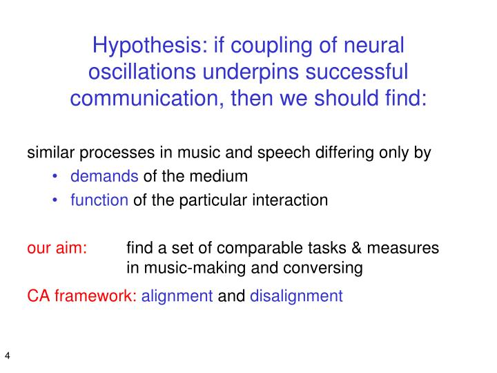 Hypothesis: if coupling of neural oscillations underpins successful communication, then we should find: