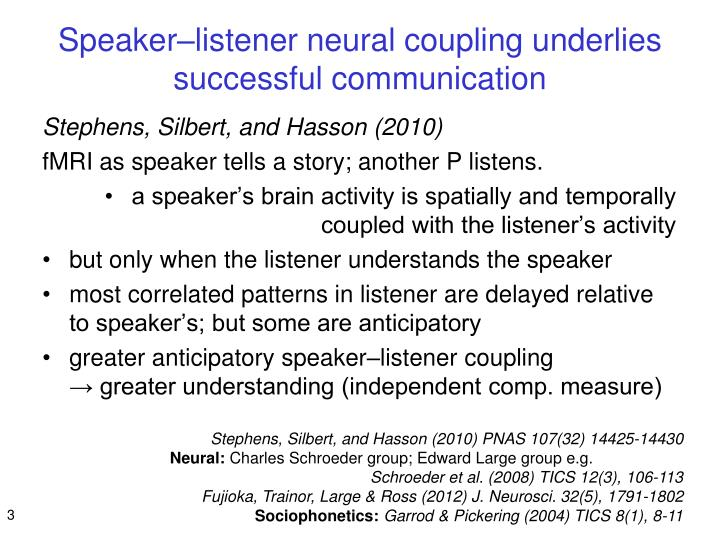 Speaker listener neural coupling underlies successful communication
