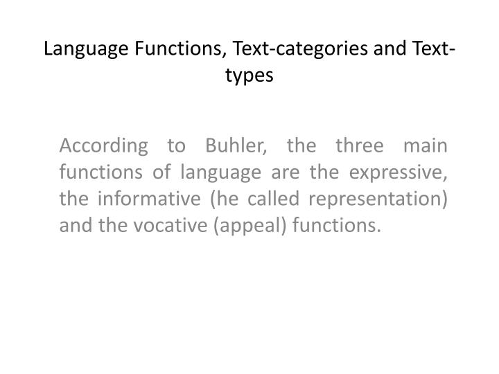 language functions text categories and text types n.