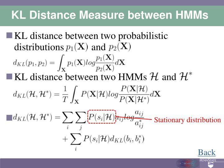 KL Distance Measure between HMMs