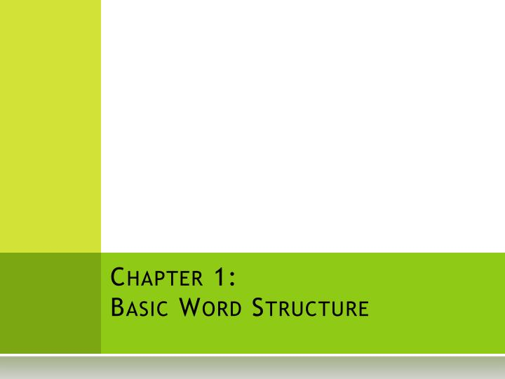 chapter 1 basic word structure n.