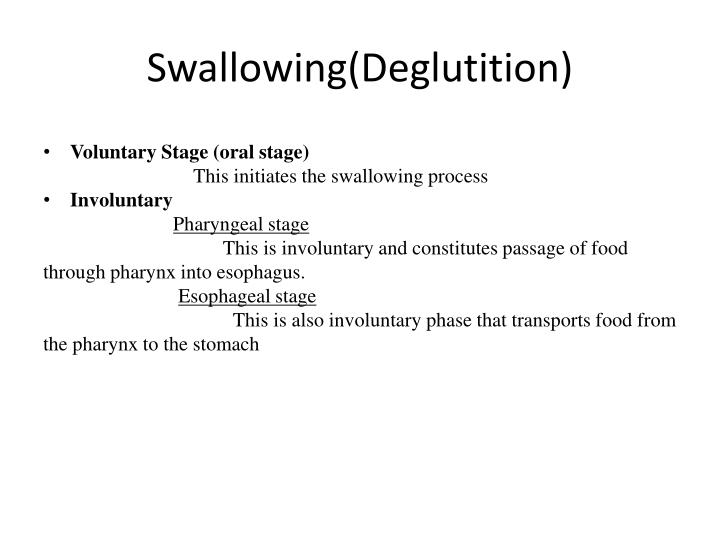 Swallowing deglutition