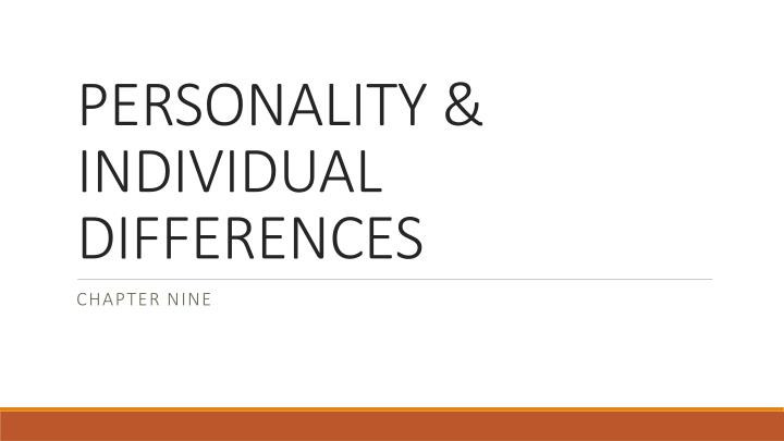 personality individual differences n.
