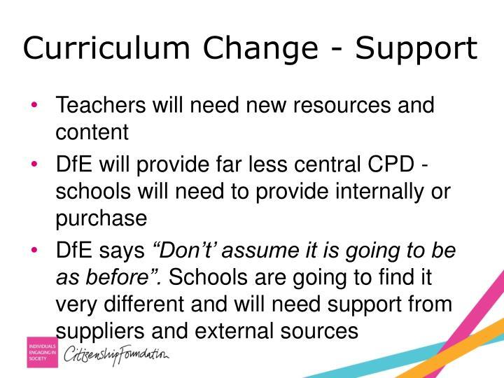 Curriculum Change - Support