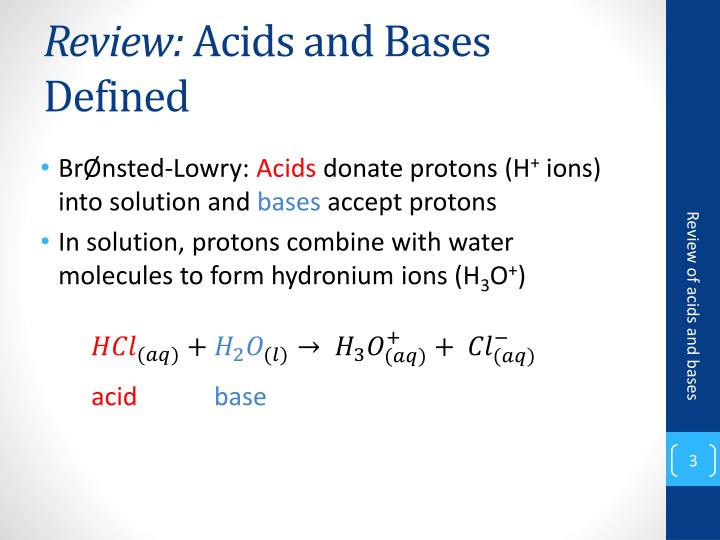Review acids and bases defined